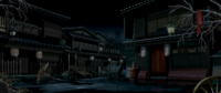 Houses at night from The Last Blade